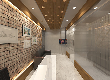 Reception Desk Design for Corporate Office of Izme